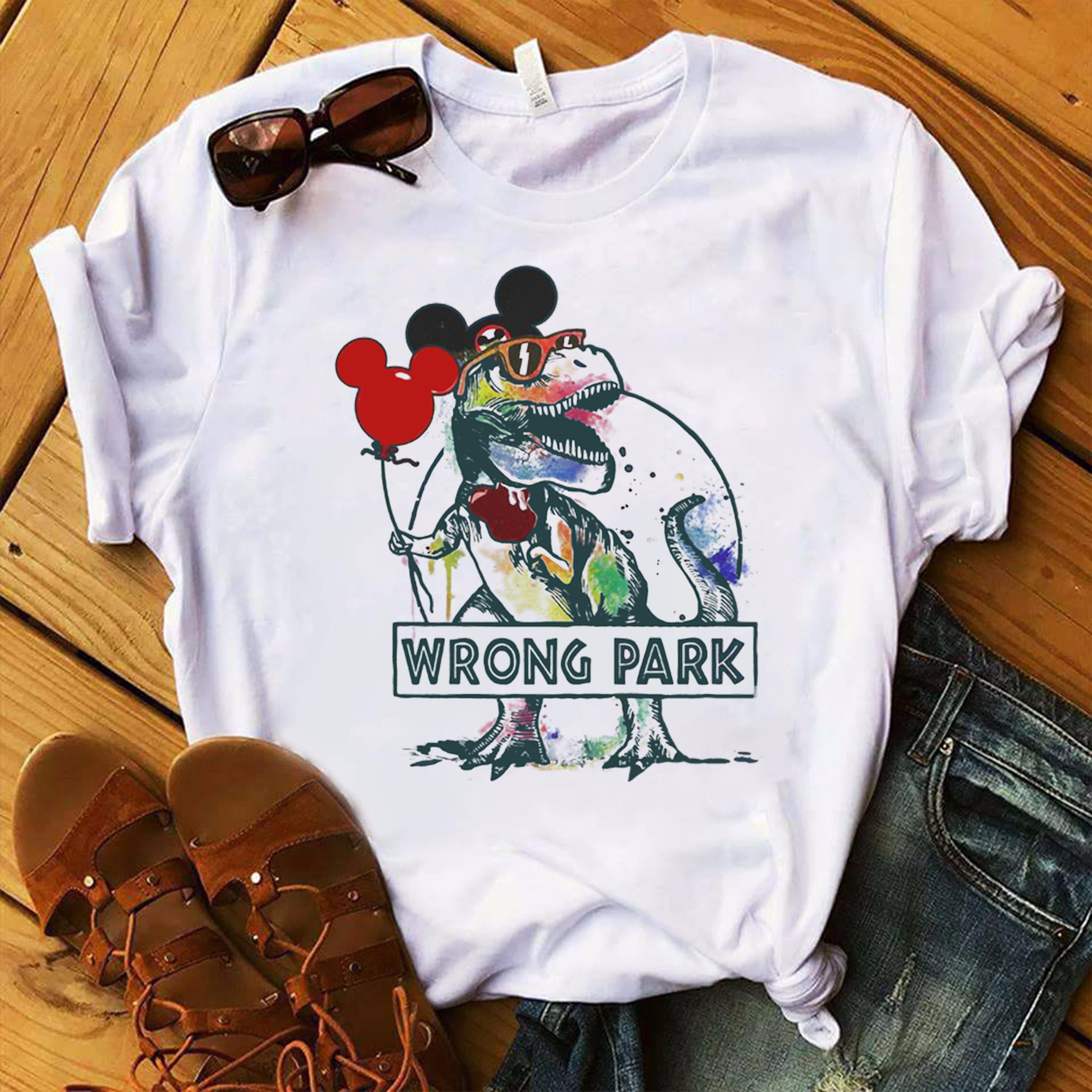 699ba668e Dinosaur T-rex and Mickey Mouse wrong Park shirt, hoodie, tank top ...