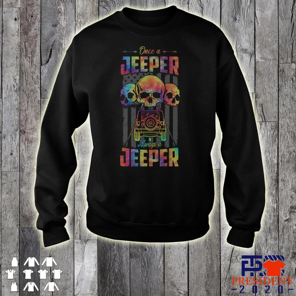 Skull Once A Jeeper Always A Jeeper American Flag Sweater