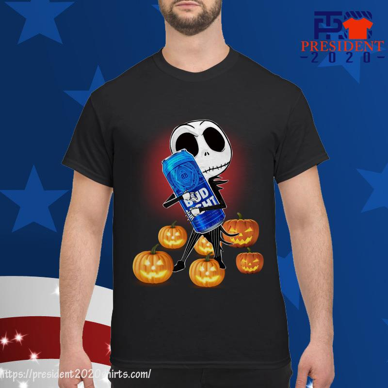 Budweiser Halloween 2020 Jack Skellington Hug Bud Light And Pumpkin Halloween Shirt, hoodie