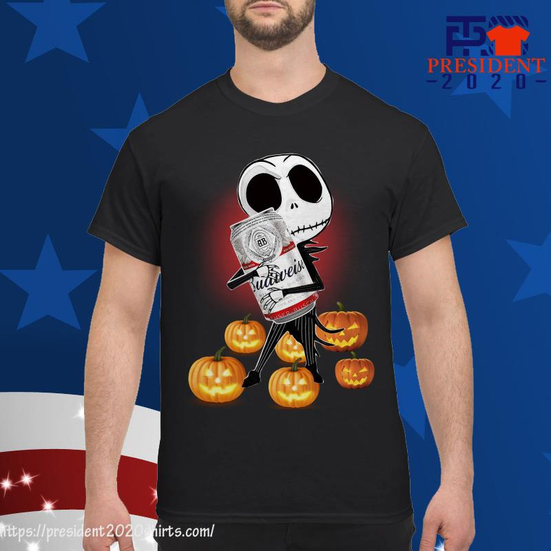 Budweiser Halloween 2020 Jack Skellington Hug Budweiser And Pumpkin Halloween Shirt, hoodie
