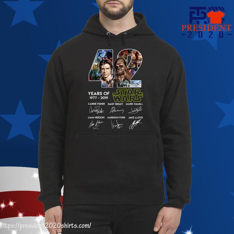 42 Years of Star Wars 1977 2019 Han Solo Chewbacca signature hoodie