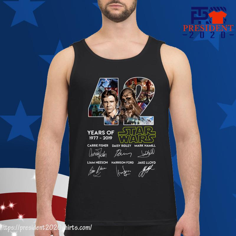 42 Years of Star Wars 1977 2019 Han Solo Chewbacca signature tank top