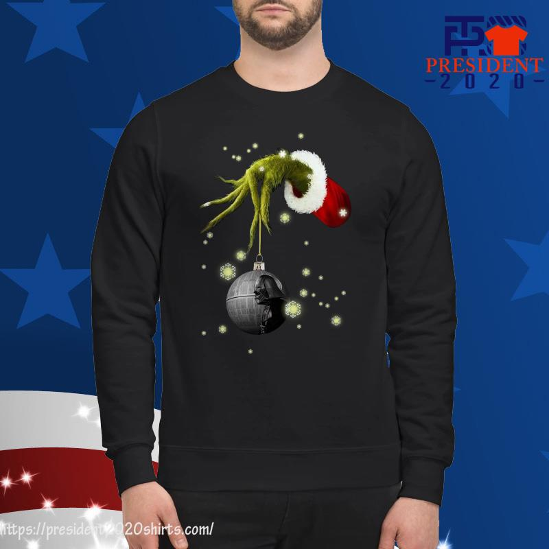 Grinch Hand holding Death Star Darth Vader christmas sweater