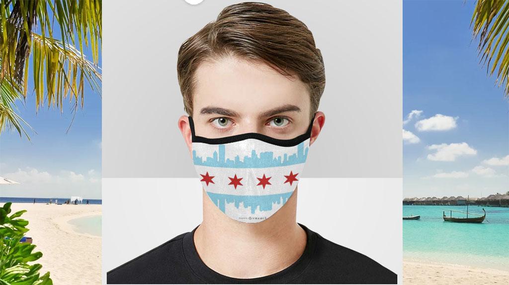 Chicago Flag Cityscape Face Mask