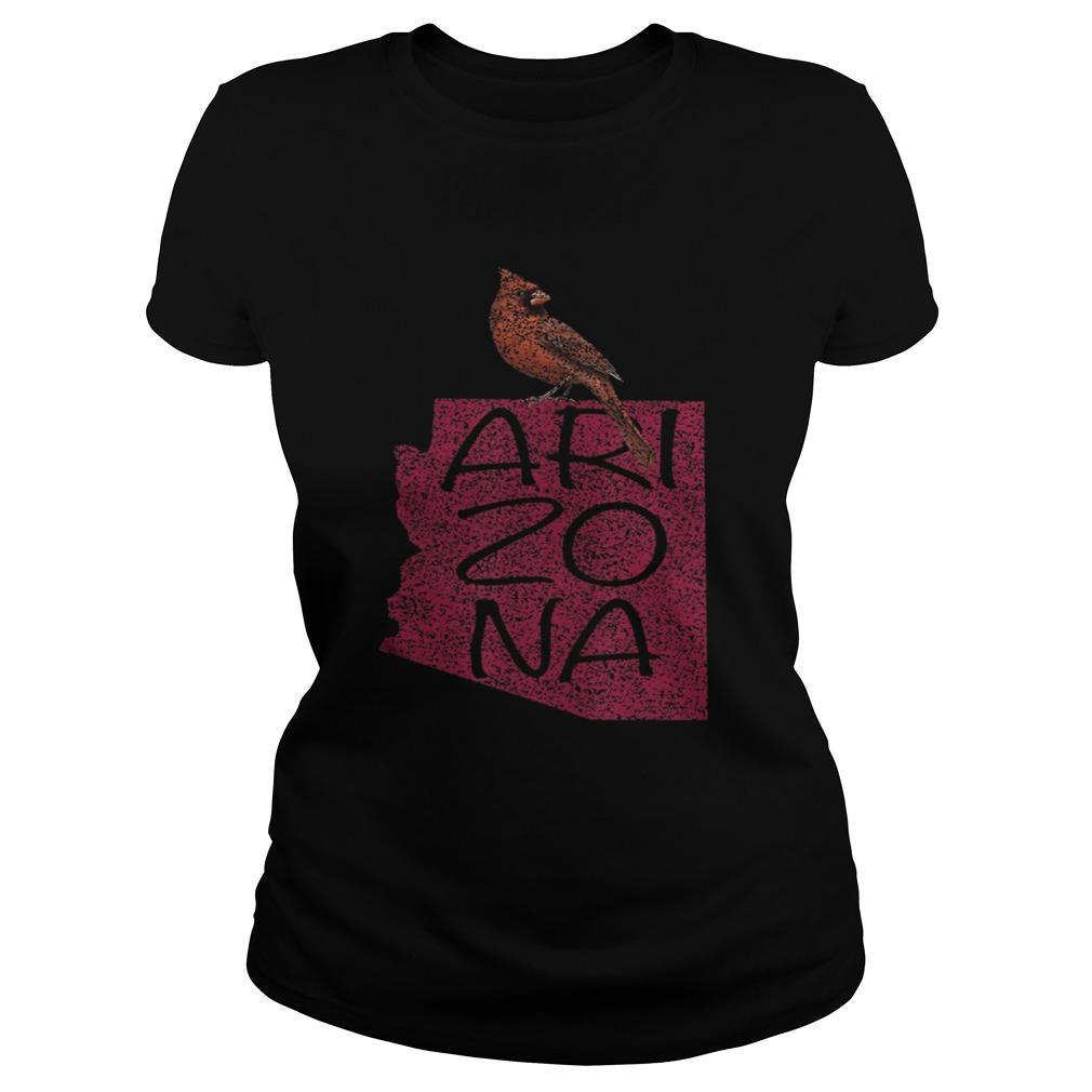 Black Vintage Cardinal Red Bird Arizona AZ Football  Classic Ladies
