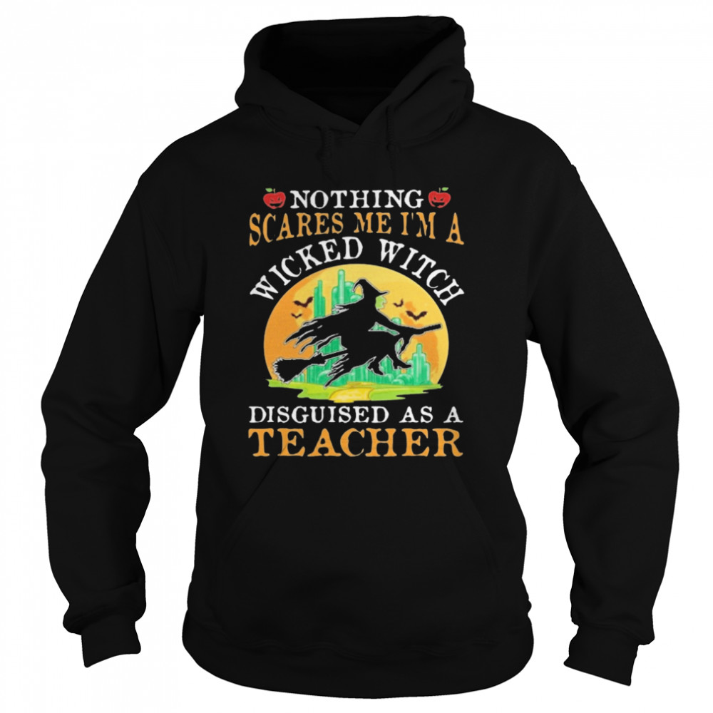 Nothing Scares Me I'm A Wicked With Disguised As A Teacher Halloween  Unisex Hoodie