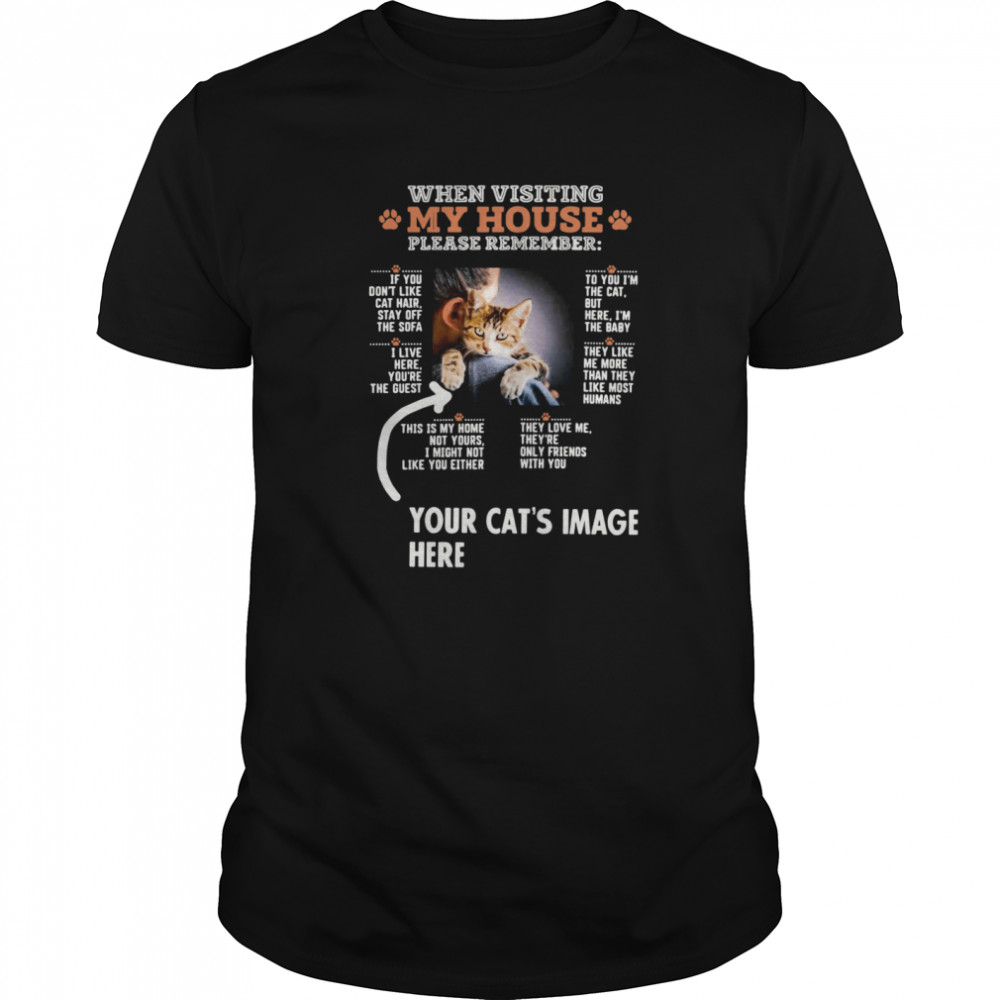 When Visiting My House Please Remember Your Cat's Image Here  Classic Men's T-shirt