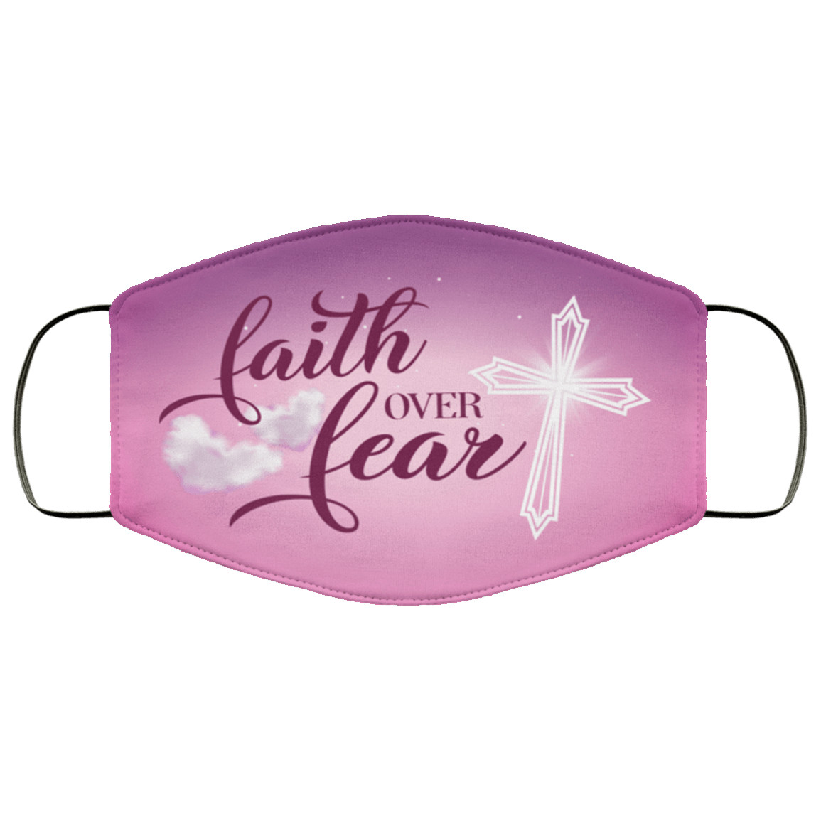 Faith Over Fear Washable Reusable Custom  Printed Cloth Face Mask Cover Reusable machine washable