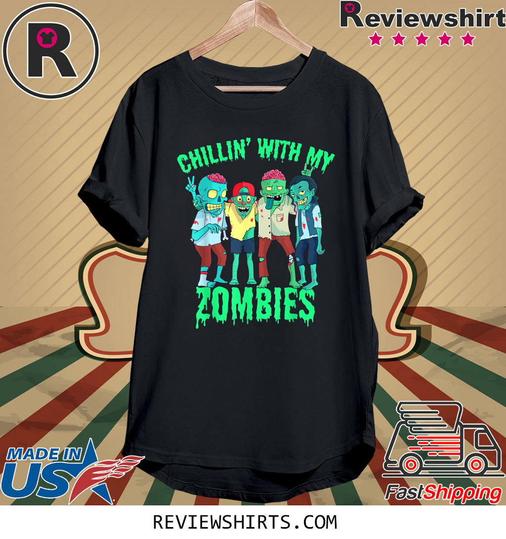 Chillin With My Zombies Halloween Boys Kids Zombie Shirt