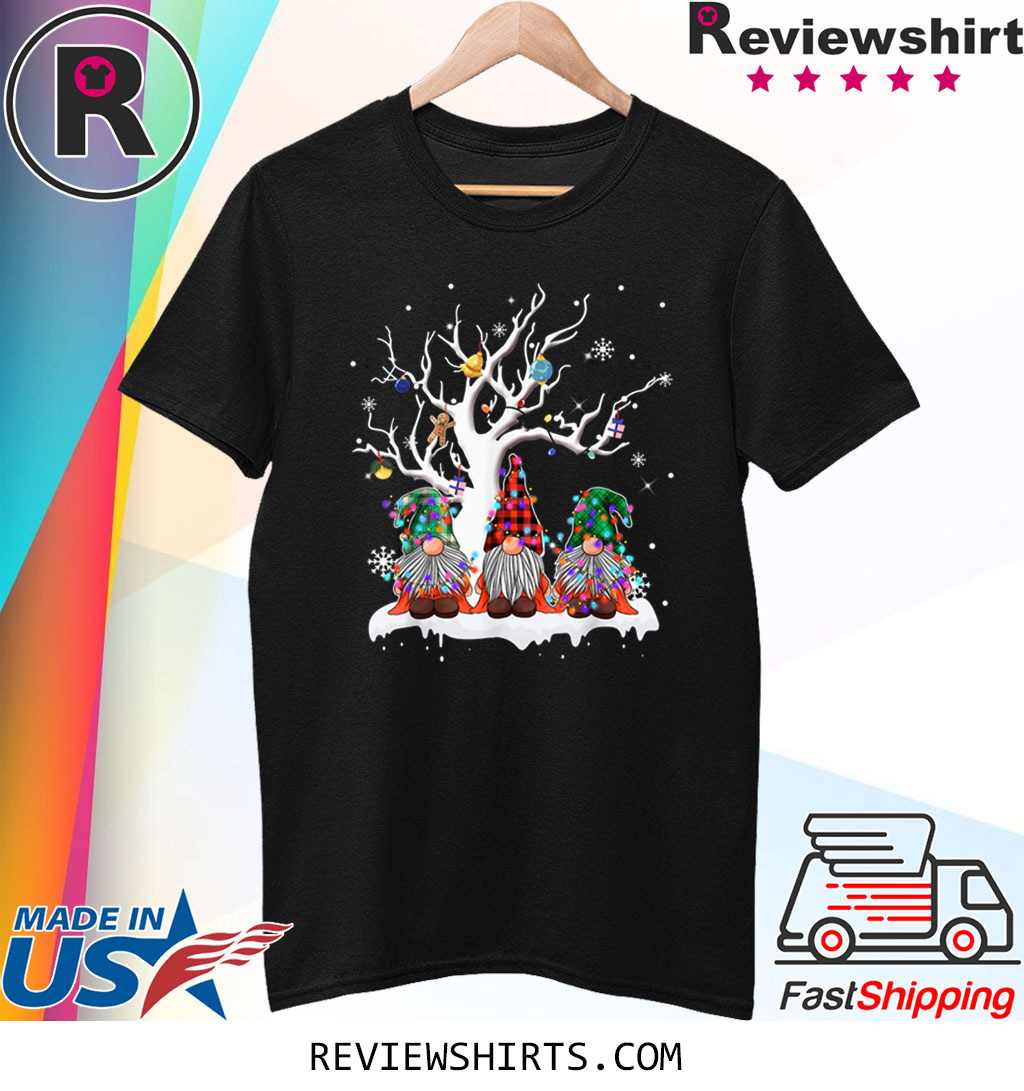 Gnome Buffalo Plaid Christmas Tree Light Ugly Santa Hat Shirt