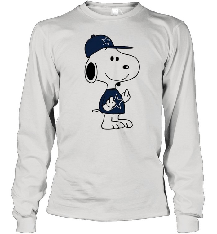 Snoopy Dallas Cowboys NFL Double Middle Fingers Fck You  Long Sleeved T-shirt