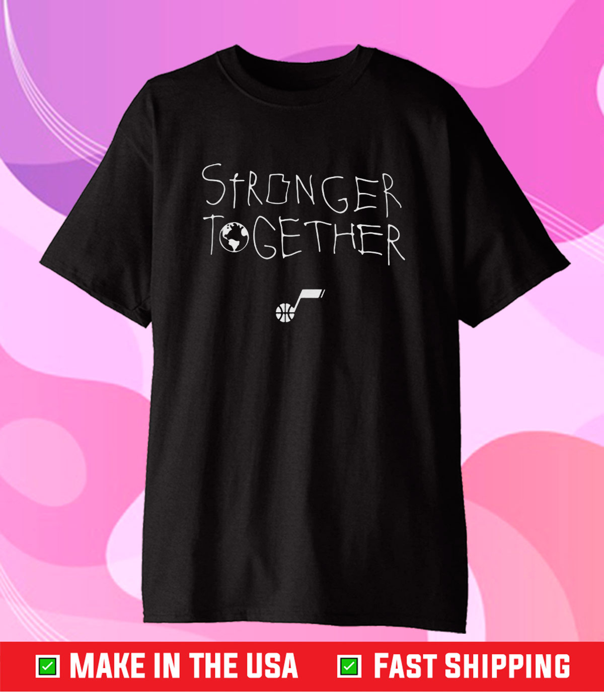 Utah Jazz Jazz Team Store 21 Stronger Together Bhm Classic T-Shirt